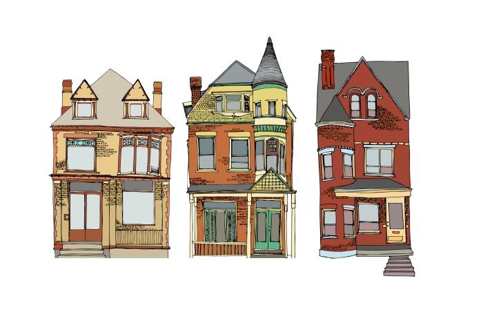Print 3 houses